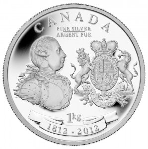 George III and his iconic Peace Medal were commemorated on this one-kilogram Fine silver coin struck by the Royal Canadian Mint in 2012.