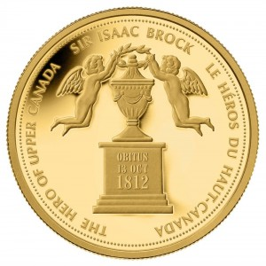 The Mint also commemorated Brock on a Fine gold coin based on an 1816 half-penny token that also commemorated Brock.