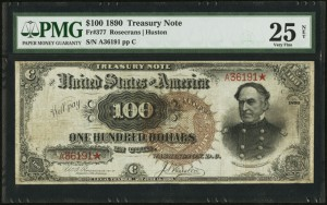 """Lot #18916 is this popular 1890 """"Watermelon"""" $100 treasury note that's expected to realize more than $150,000 USD ($190,000 Cdn.)."""