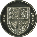The current £1 coin.