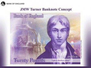JMW Turner was recently unveiled as the first fine artist to be featured on a U.K. banknote.