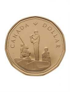 This circulating commemorative loonie was issued by the Royal Canadian Mint in 1995.
