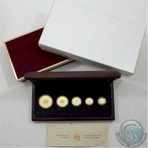 This five-coin fractional gold set issued by the Royal Canadian Mint in 2001 brought $3,421,25. (Colonial Acres photo)