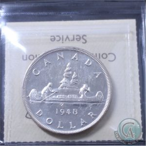This 1948 silver dollar in International Coin Certification Service Mint State-63 brought $3,105.