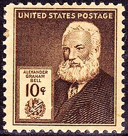 The USPS also featured Bell on this 10-cent stamp (US Scott #893) issued in 1940.
