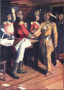 Charles William Jefferys' 1812 painting Rencontre de Brock et du chef de guerre Tecumseh.
