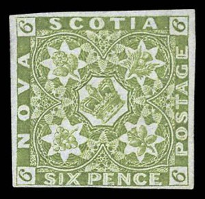 Nova Scotia also issued this six-pence stamp (SC #7) in 1851.