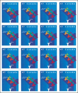 Panes of 16 stamps were also issued by Canada Post.