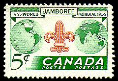 In 1955, to mark the 8th World Scout Jamboree, held in Niagara-on-the-Lake, Ont., Canada Post issued this five-cent stamp (CS #356) printed by the Canadian Bank Note Company.