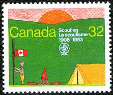 Canada Post also commemorated Canadian Scouting in 1983 with a 32-cent stamp (CS #993) printed by Ashton Potter.