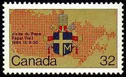 In 1984, Canada Post commemorated former pope John Paul II's papal visit to Canada with a set of two stamps, including this 32-cent issue (SC #1030).