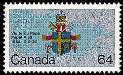 The Crown corporation also issued this 64-cent stamp (SC #1031) as part of its commemoration of the former pope's first visit to Canada.