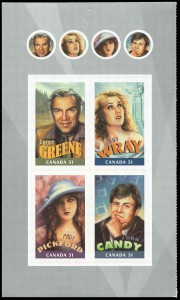 """Greene was featured alongside other Canadian actors in Canada Post's """"Canadians in Hollywood"""" issue. This booklet pane of four stamps (SC #2154ii) features Greene in the upper-left corner."""