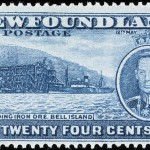 Newfoundland reused the Bell Island design on another 24-cent stamp (SC #241) issued in 1937. An image of King George VI, whose coronation took place on the date of issue, was added to the stamp's design.