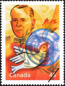 Pearson was also commemorated as part of Canada Post's Millennium Collection on this 46-cent stamp (SC #1825c).