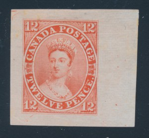 "Lot 3, this 1859-78 12-pence Queen Victoria ""Scar"" trial colour die proof, realized $6,440."