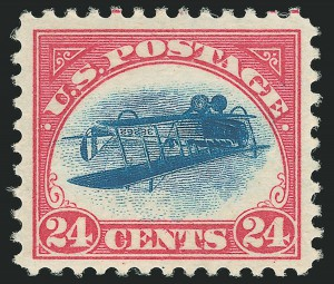 The highest graded Inverted Jenny, Position 58, sold on Tuesday for $1.175 US million, plus buyer's premiums.