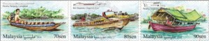 """Pos Malaysia's recent """"River Transportation in Sarawak"""" series features a longboats stamp (left, 70 sen); an express boats stamp (centre, 80 sen); and a 'tambang' boats stamp (right, 90 sen)."""