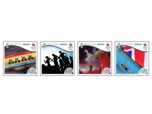 The four-stamp series features 'Team GB' athletes.