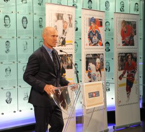 Mark Messier recalled his mother bringing him to an Esso gas station, where he would ask to buy stamps depicting NHL all stars. He said it's an 'incredible honour' to be commemorated alongside the other Great Canadian Forwards.