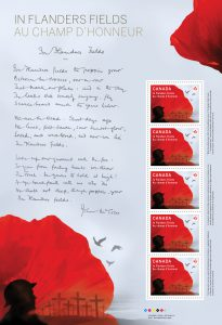 A five-stamp mini pane featuring the poem in McCrae's handwriting was also issued in 2015.