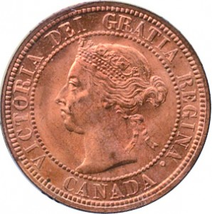 Canada 1890 1 Cent – Victoria Coin  (Large) Obverse