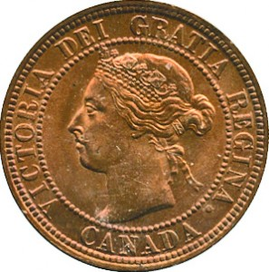 Canada 1898 1 Cent – Victoria Coin  (Large) Obverse