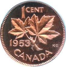 Canada 1953 1 Cent – Elizabeth II Coin  (Small) Reverse