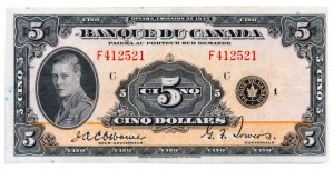 Canada 1935 5 Dollars –  Note Obverse
