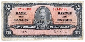 Canada 1937 2 Dollars –  Note Obverse