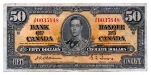 Canada 1937 50 Dollars –  Note Obverse