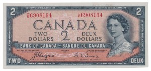 Canada 1954 2 Dollars –  Note  (Devil's Face) Obverse
