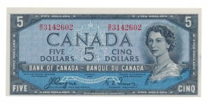 Canada 1954 5 Dollars –  Note  (Devil's Face) Obverse