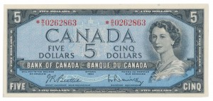 Canada 1954 5 Dollars –  Note  (Modified) Obverse