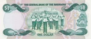 The author's first note featuring a military band, a $1 issue from the Bahamas.