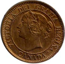 Canada 1858 1 Cent – Victoria Coin  (Large) Obverse