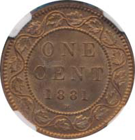 Canada 1881 1 Cent – Victoria Coin  (Large) Reverse