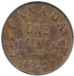 Canada 1922 1 Cent – George V  Coin  (Small) Reverse