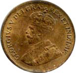 Canada 1929 1 Cent – George V  Coin  (Small) Obverse