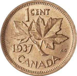 Canada 1937 1 Cent – George VI Coin  (Small) Reverse