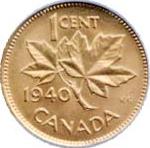 Canada 1940 1 Cent – George VI Coin  (Small) Reverse