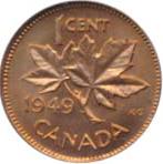 Canada 1949 1 Cent – George VI Coin  (Small) Reverse