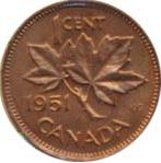 Canada 1951 1 Cent – George VI Coin  (Small) Reverse