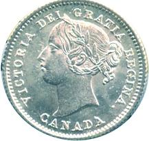 Canada 1870 10 Cents – Victoria Coin Obverse