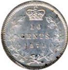 Canada 1871 10 Cents – Victoria Coin Reverse