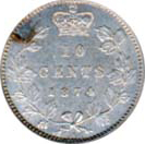 Canada 1874 10 Cents – Victoria Coin Reverse