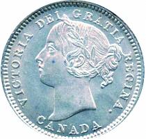 Newfoundland 1882 10 Cents – Victoria Coin Obverse