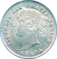 Newfoundland 1885 10 Cents – Victoria Coin Obverse