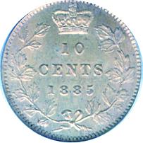 Newfoundland 1885 10 Cents – Victoria Coin Reverse
