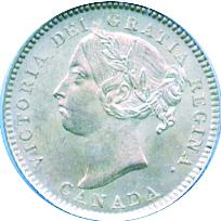 Canada 1886 10 Cents – Victoria Coin Obverse